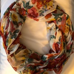 Gauzy infinity scarf in Fall colors